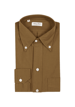 Salvatore Piccolo Brown Cotton Shirt with Buttoned Cuffs