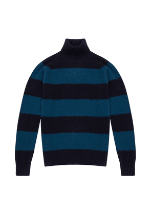 Doppiaa Blue Striped Brushed Wool Turtleneck Sweater