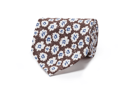 Francesco Marino White and Brown Linen and Silk Tie
