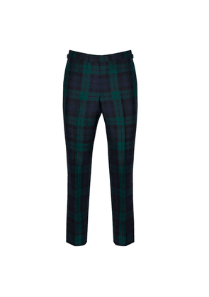 Chester Barrie Green And Navy Wool Tartan Trousers
