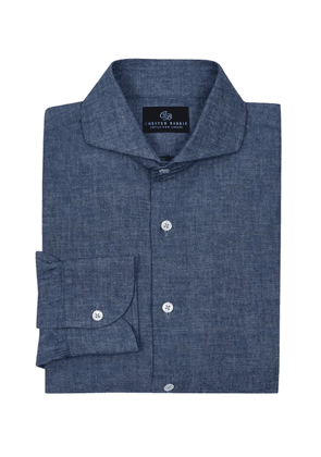 Chester Barrie Denim Blue Chambray Garment Washed Shirt