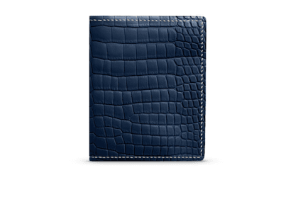 G. Lancelot Navy Irus Crocodile Leather Wallet
