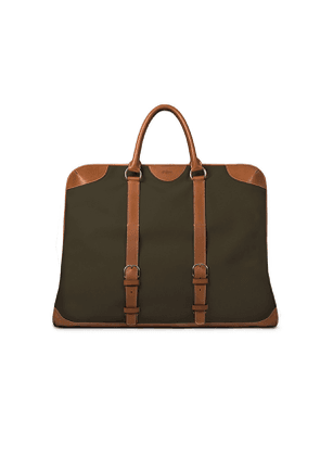 G. Lancelot Khaki Green Costan Canvas Weekender Bag