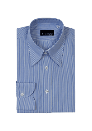 Blue and White Cotton Bengal Stripe Shirt with Button Cuffs