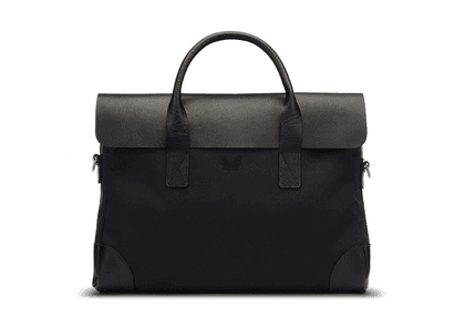 be8445438d3c Bennett Winch Black Canvas And Leather Briefcase