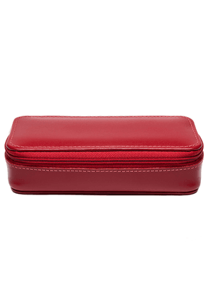Red Dressed Calf Leather Spectrum Small Travel Zip Box