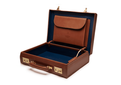 Ettinger Nut and Blue Heritage St James Lid-Over Attache Case