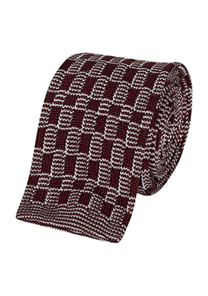 Dark Red Silk Knitted Check Patterned Tie