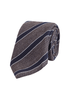 Charcoal and Navy Stripe Wool and Silk Tie