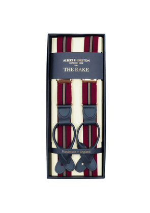 Red Tricolore Braces With Black Leather Ends