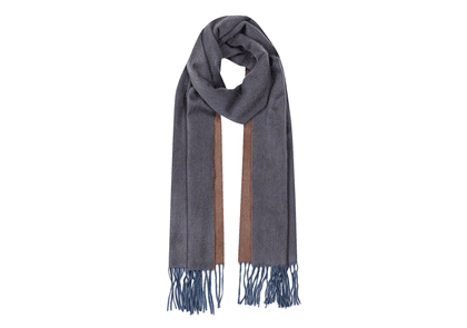 Slate and Mink Cashmere Reversible Scarf