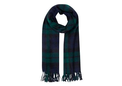 Black, Green and Navy Lambswool and Angora Jura Scarf