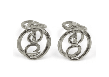 Cifonelli Silver Double 'C' Rustic Cufflinks with Rigid Post