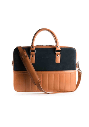 Rum Leather and Suede Urban Messenger Bag