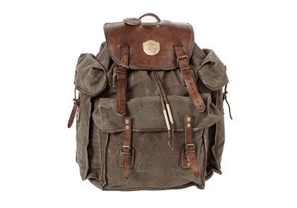 Thedi Leathers Olive Green Canvas and Brown Leather Military Backpack
