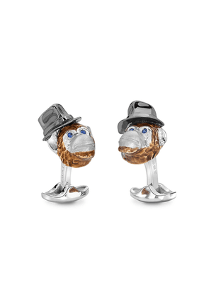 Silver, Enamel and Sapphire Chimpanzee with Hat Cufflinks