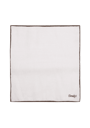 Drake's White and Brown Linen Pocket Square