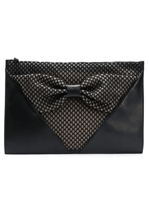 Red(v) Woman Bow-embellished Paneled Mesh And Leather Clutch Black Size -