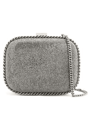 Stella Mccartney Woman Crystal And Chain-embellished Faux Leather Shoulder Bag Gunmetal Size -