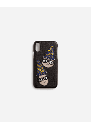 Dolce & Gabbana Hi-Tech Accessories - IPHONE X COVER IN DAUPHINE CALFSKIN WITH DESIGNERS' PATCHES BLACK