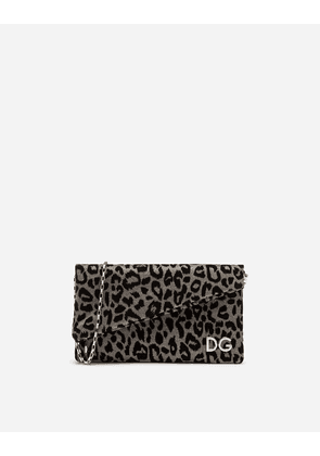 Dolce & Gabbana Mini Bags and Clutches - DG GIRLS CLUTCH IN LUREX JACQUARD FABRIC AND LEOPARD-PRINT VELVET SILVER