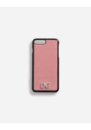 Dolce & Gabbana Hi-Tech Accessories - IPHONE 7 PLUS COVER WITH DAUPHINE CALFSKIN DETAIL AND DG CRYSTAL LOGO PINK