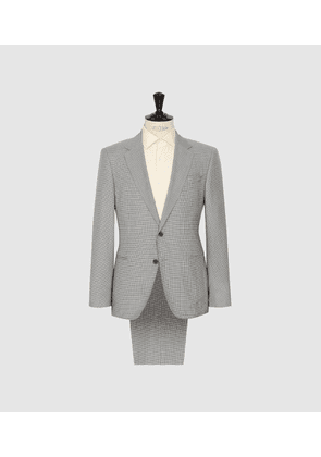 Reiss Ivy - Single Breasted Check Suit in Stone, Mens, Size 36