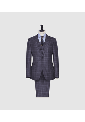 Reiss Stanford - Modern Fit Check Suit in Navy, Mens, Size 36