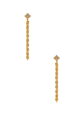 ERTH Shimmering Star Chain Earring in Metallic Gold.