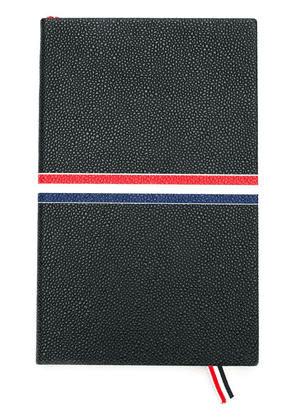 Thom Browne Large Notebook With Red, White And Blue Grosgrain In Black