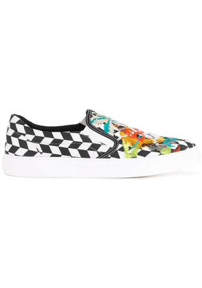 Doublet skull embroidered slip-on sneakers - White