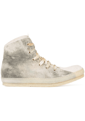 A Diciannoveventitre dye finish hi-top sneakers - White
