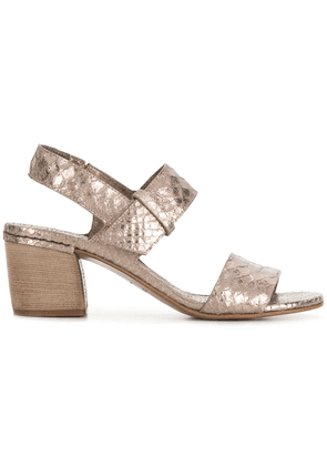 Del Carlo 10119 snake embossed sandals - Metallic