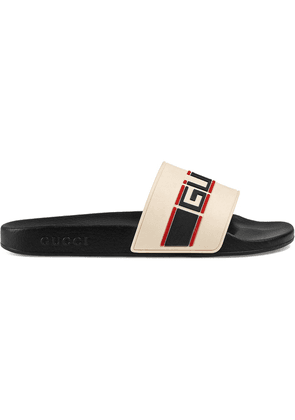 Gucci Gucci stripe rubber slide sandal - White