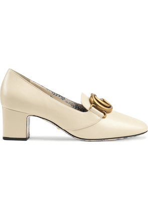 Gucci Leather mid-heel pump with Double G - White