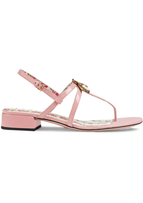 Gucci Patent leather sandals with bee - Pink