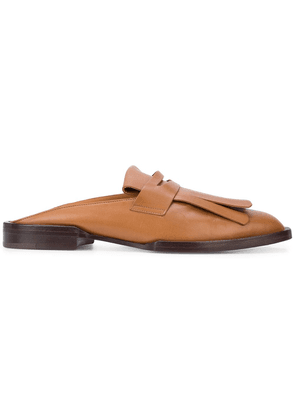 Clergerie fringed detail loafer mules - Brown
