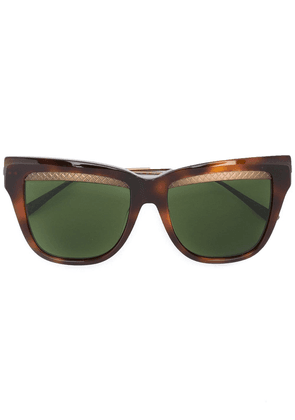 Bottega Veneta Eyewear square cat eye sunglasses - Brown