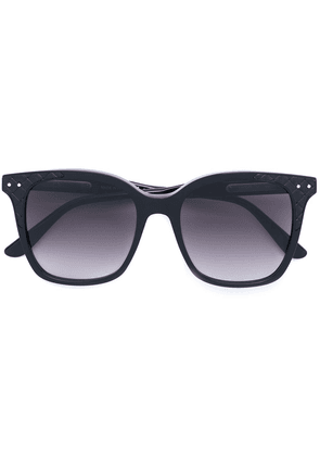 Bottega Veneta Eyewear oversized quilted detail sunglasses - Black
