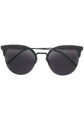 Bottega Veneta Eyewear Intrecciato cat eye sunglasses - Black