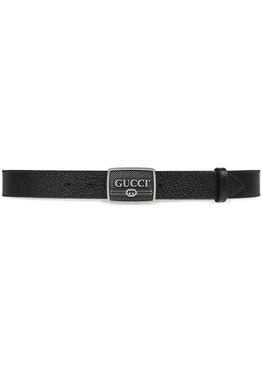 Gucci Leather belt with Gucci logo buckle - Black