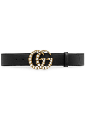 Gucci Leather belt with pearl Double G - Black