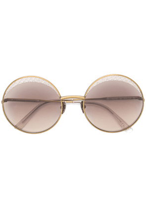 Bottega Veneta Eyewear Intrecciato circle sunglasses - Metallic