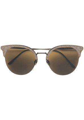 Bottega Veneta Eyewear Intrecciato cat eye sunglasses - Brown