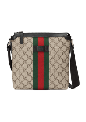 Gucci Web GG Supreme flat messenger bag - Neutrals