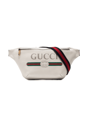 Gucci white logo embellished leather crossbody bag