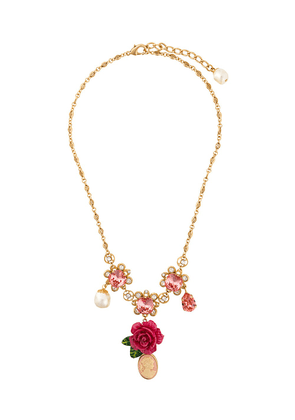 Dolce & Gabbana cameo crystal rose necklace - Metallic