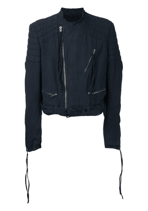 Haider Ackermann quilted collarless biker jacket - Blue