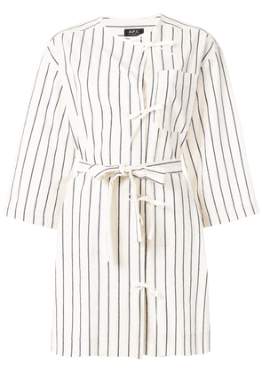 A.P.C. bow detail striped blouse - Neutrals