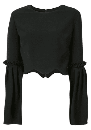 Christian Siriano scalloped cropped blouse - Black